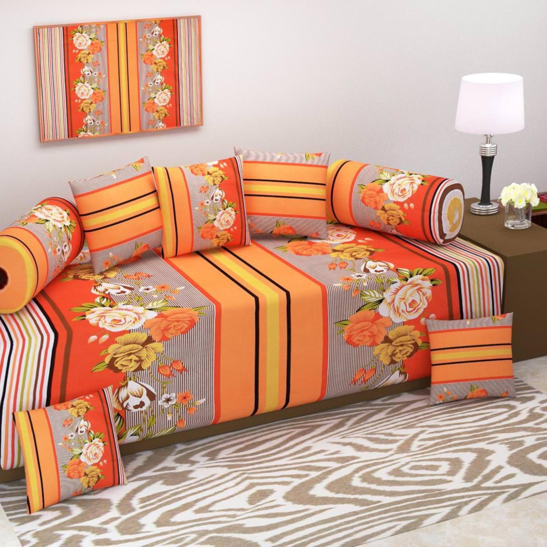 Fresh From Loom Cotton Orange Floral Diwan Set 8 Pcs