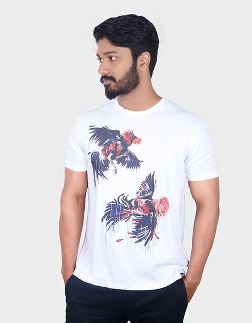 ANGI White Round T-Shirt Pack of 1