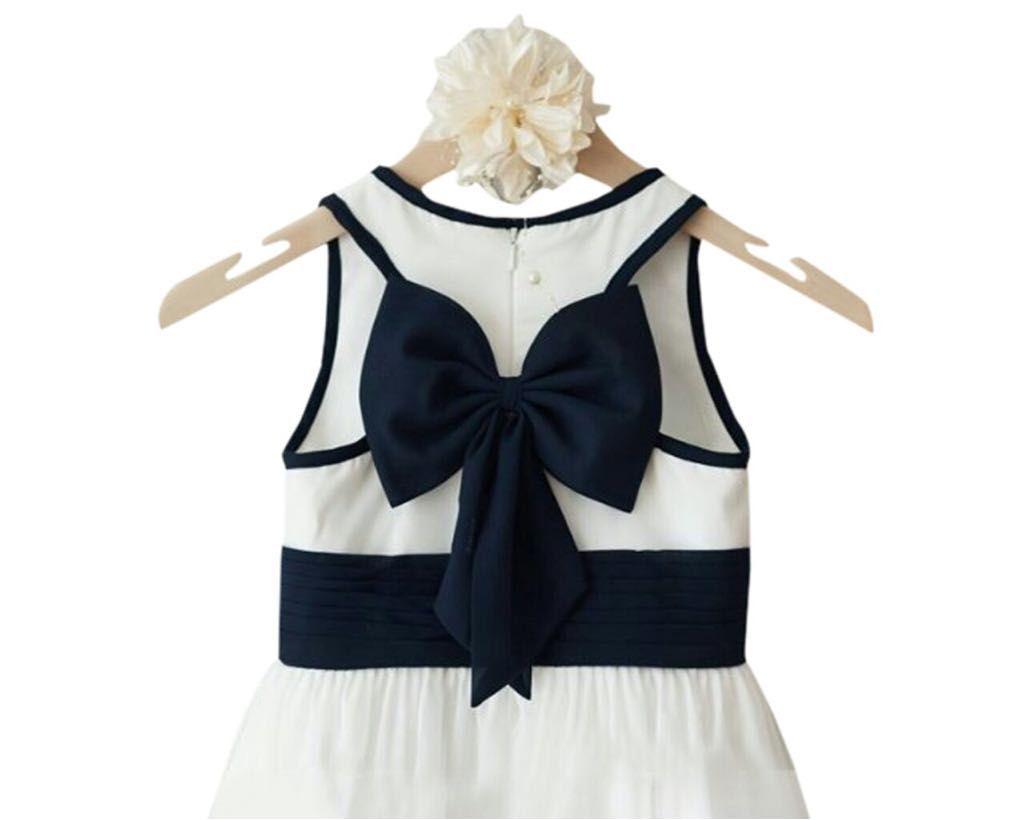 Baby Girl Princessly Ivory Satin Wedding Flower Girl Dress Junior Bridesmaid Dress with Navy Blue Bow