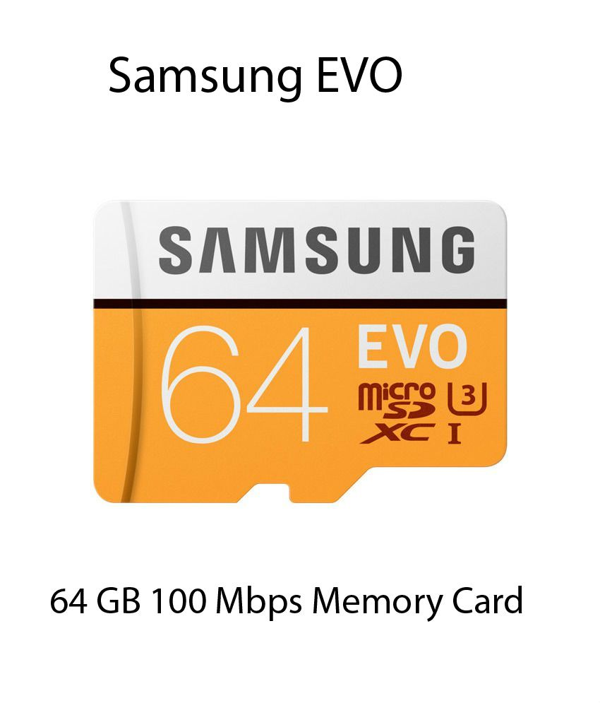 Samsung EVO 64 GB Micro SDXC Class 10 100 MB/s (With SD Adapter) - Memory Cards Online at Low Prices | Snapdeal India