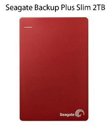 Seagate Backup Plus Slim 2TB Portable External Hard Drive & Mobile Device Backup (Red)