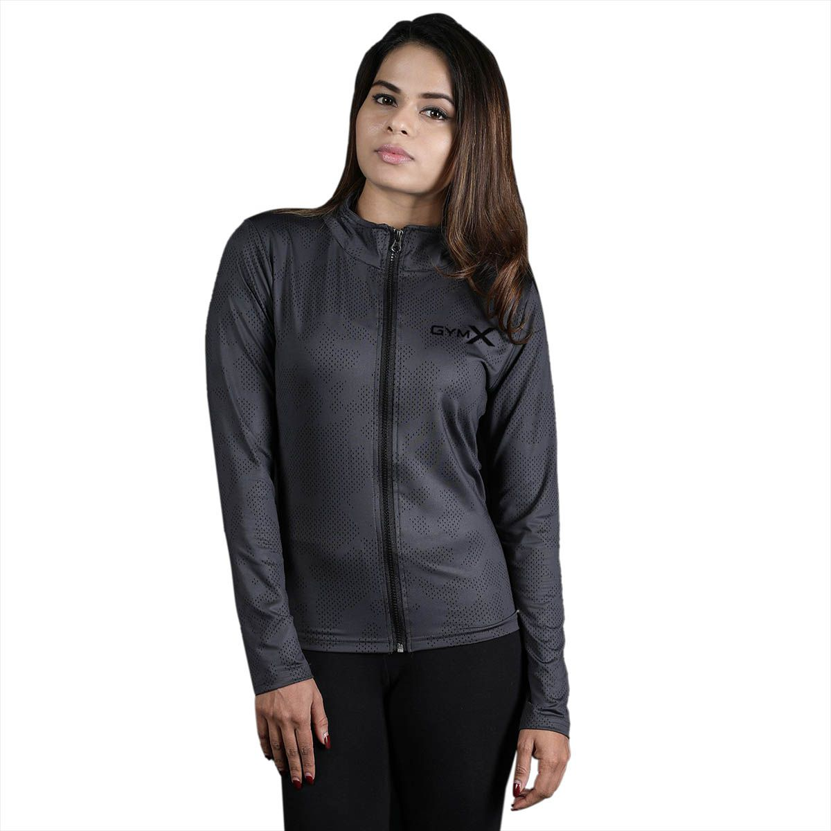 GymX Womens Royal Grey Full Zip T shirt- Athena Series(Size:Medium)