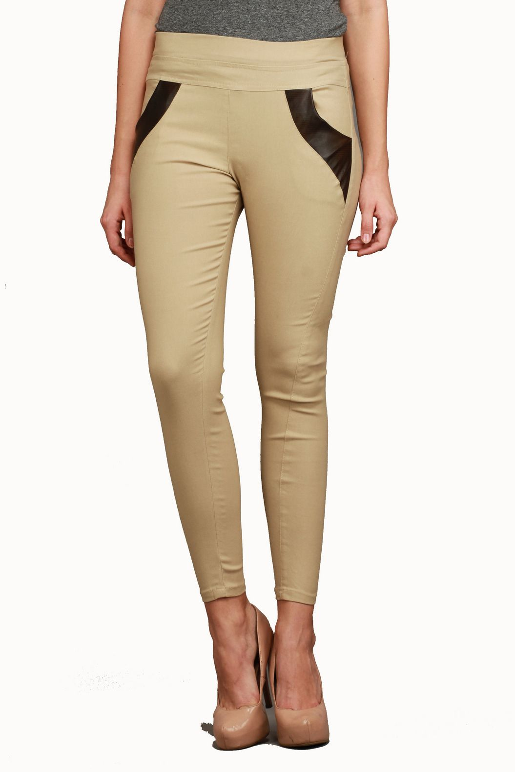 Makxziya Cotton Lycra Jeggings - Beige