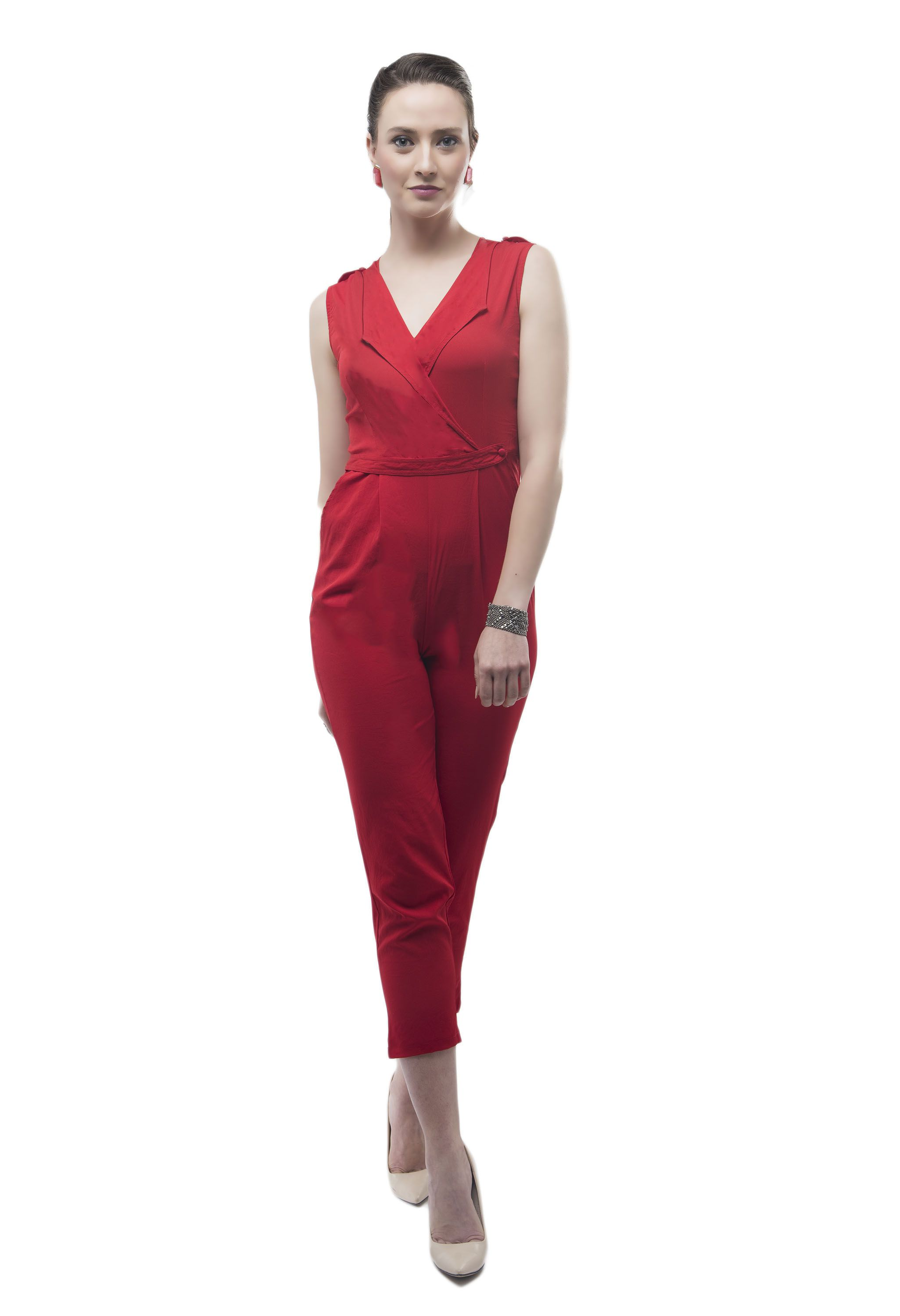 825ebba84a9 V M Poly Crepe Red Jumpsuits - Buy V M Poly Crepe Red Jumpsuits Online at  Best Prices in India on Snapdeal