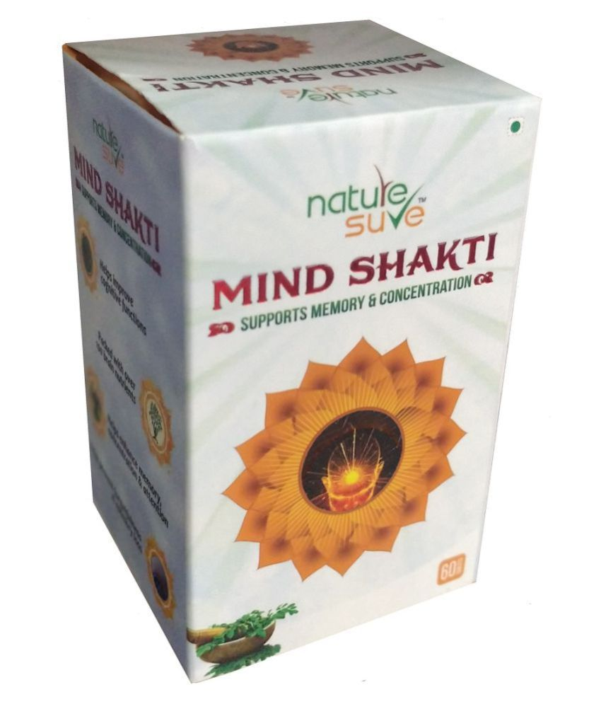Nature Sure Mind Shakti Tablets for Memory & Concentration in Men & Women - 1 Pack (60 Tablets)