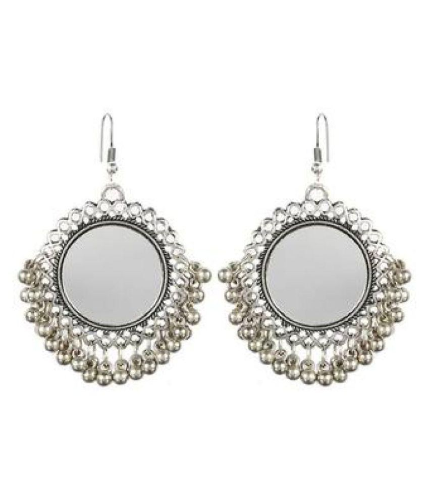 Oxidized Silver Mirror Earrings