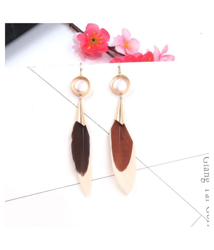 YOLO Fashion Feather Round Feather Earrings Jewellry Accessories