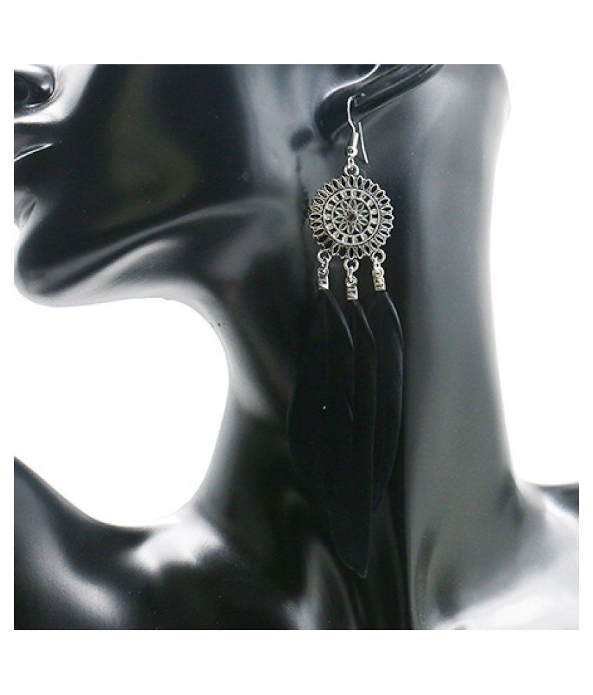 YOLO Fashion Round Flower Tassel Earrings Feather Pendant Long Jewellry Accessories