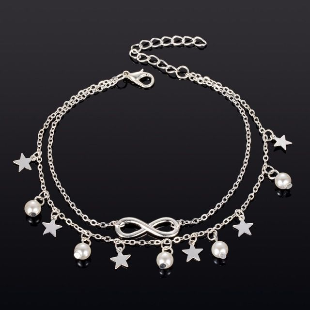 YOLO Fashion Bohemian Retro Personality Tassel Double Star Pearl Five-Pointed Star 8 Word Anklet Foot