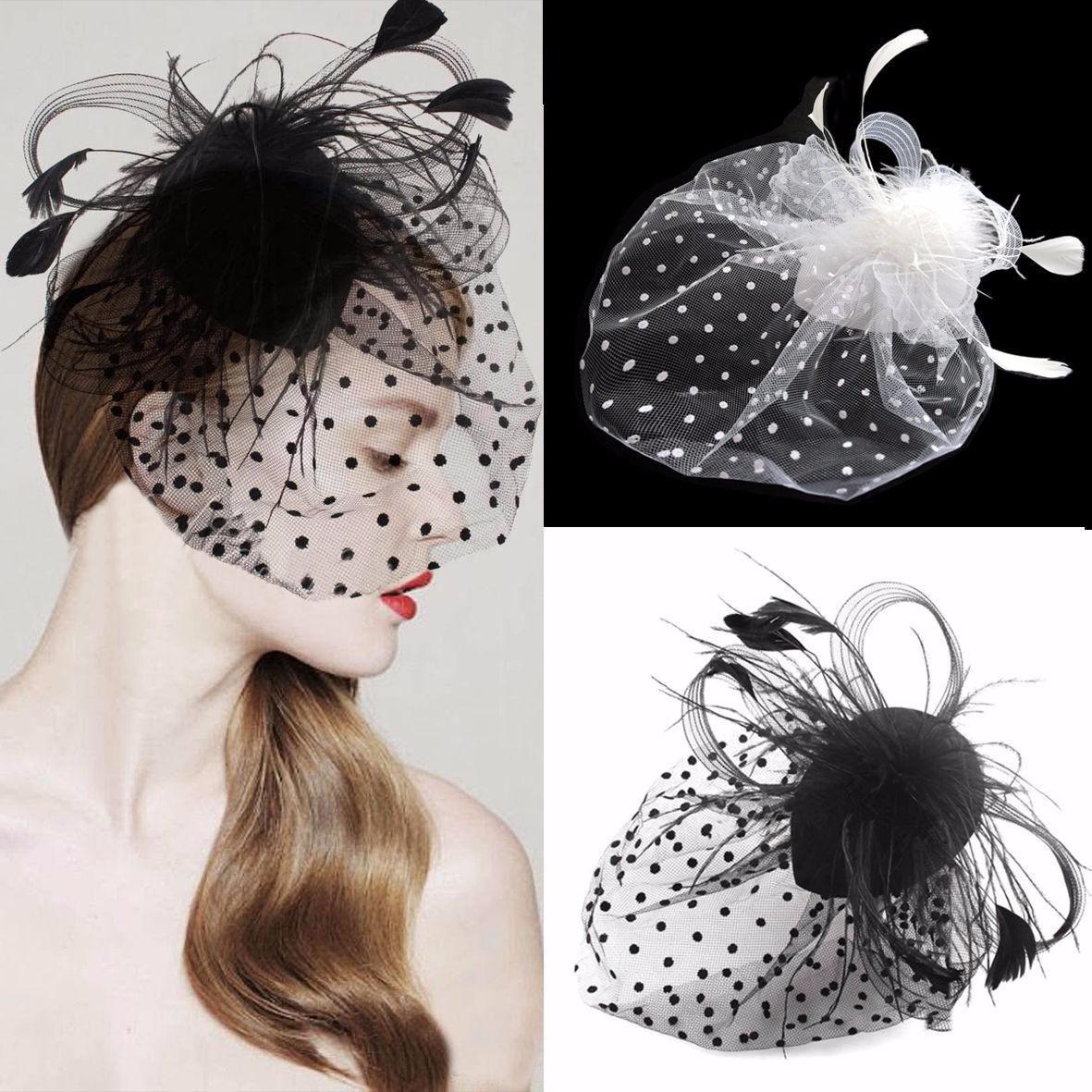 Handmade Fascinator Mesh Net Hat Lady Girl Wedding Church Veil Feather Hair Clip