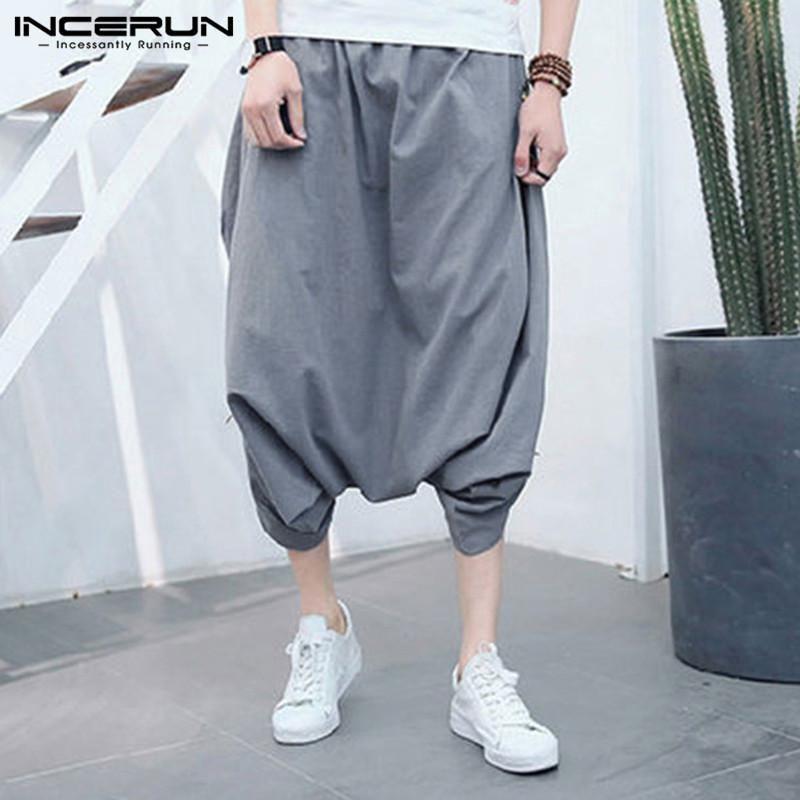 608674a28f2 INCERUN Plus Size 2018 Men Harem Pants Solid Drop Crotch Baggy Casual Trousers  Men Fashion Hip ...