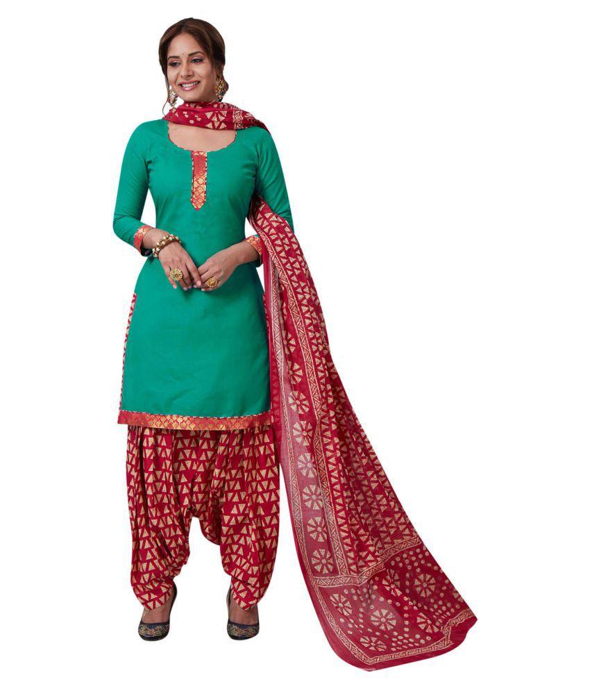 Ishin Green Cotton Dress Material