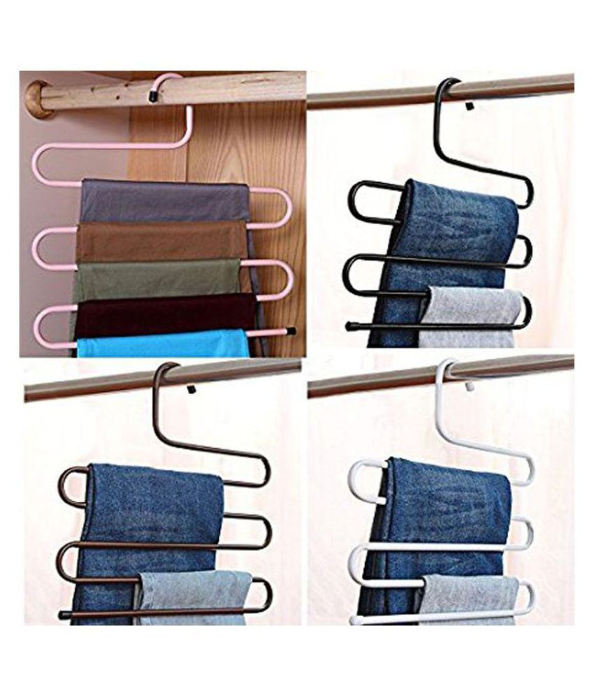 MadSan Iron stainless steel s multi-layered pants rack pants hanger rack multi function S-type magic pants rack lengthened (Assorted Color) Set of 4