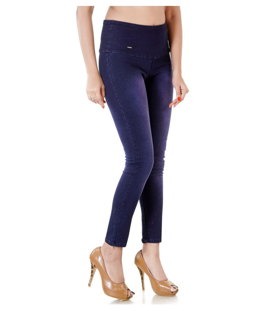 fe8ff0031d36b4 Buy Fitwings Denim Lycra Jeggings - Blue Online at Best Prices in India -  Snapdeal