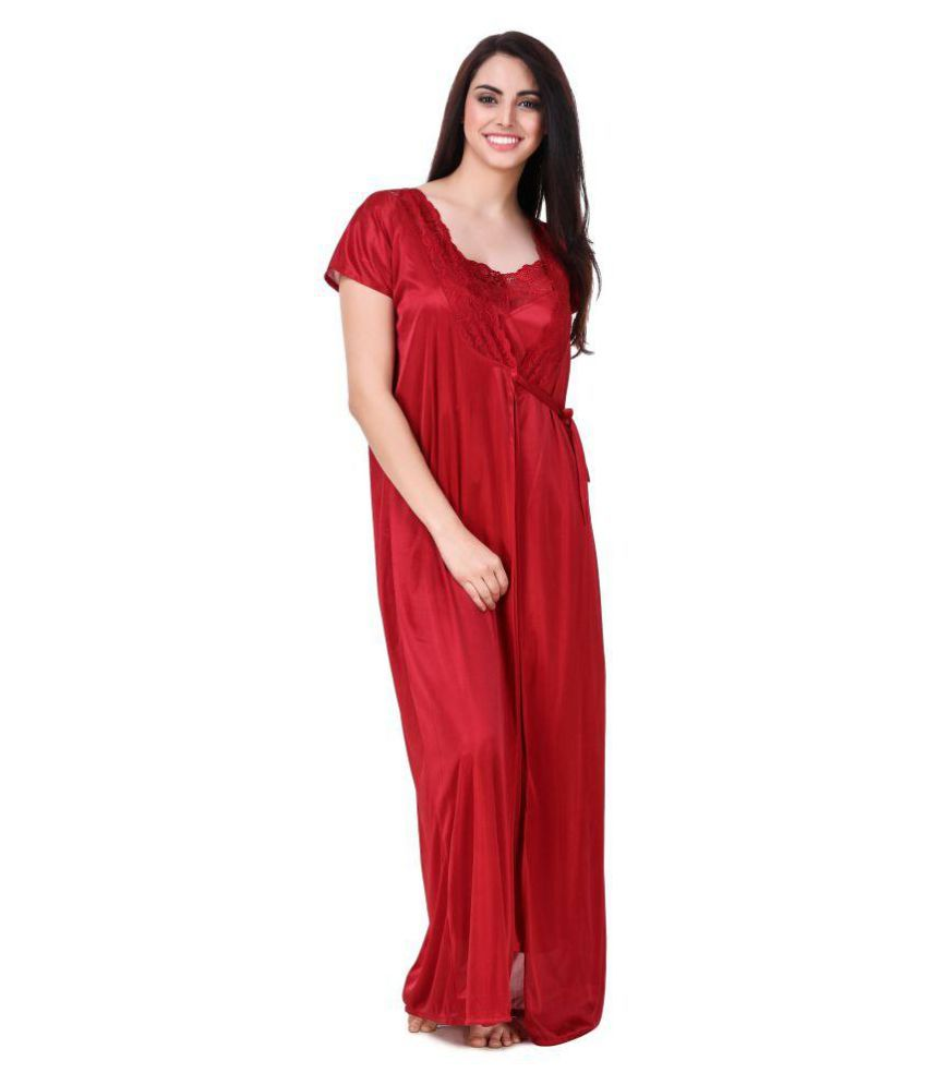 8618b70d5f Buy Freely Satin Nighty   Night Gowns - Maroon Online at Best Prices ...