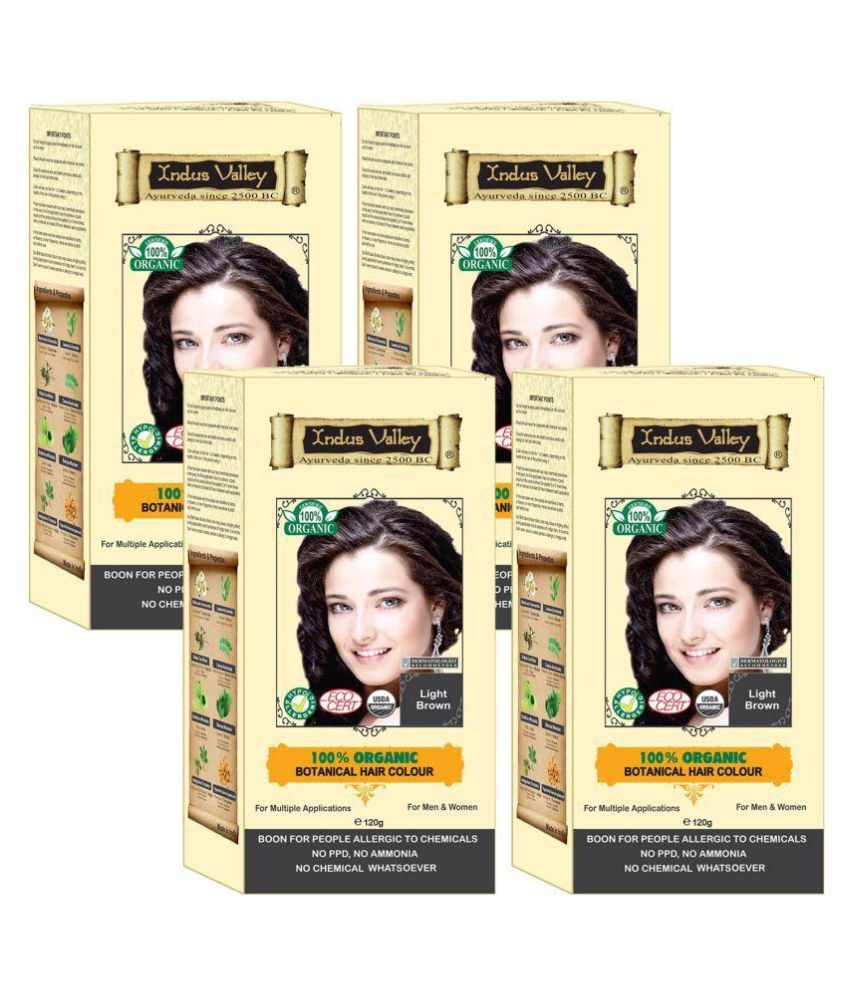 Indus Valley 100% Certified 100% Botanical For Allergic Sufferers Semi Permanent Hair Color Light Brown Brown 480 gm Pack of 4