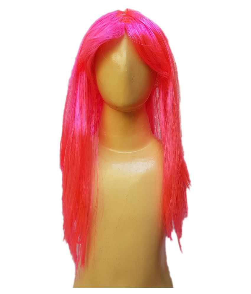 Kaku Fancy Dresses  Ladies Girl Straight Styler Pink Color Hair Wig Pink For Kids Festival/Annual function/Theme Party/Competition/Stage Shows/Birthday Party Dress