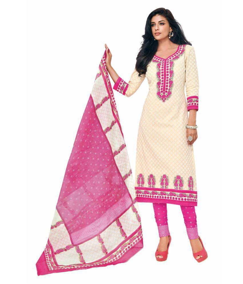 Miraan Pink Cotton Dress Material