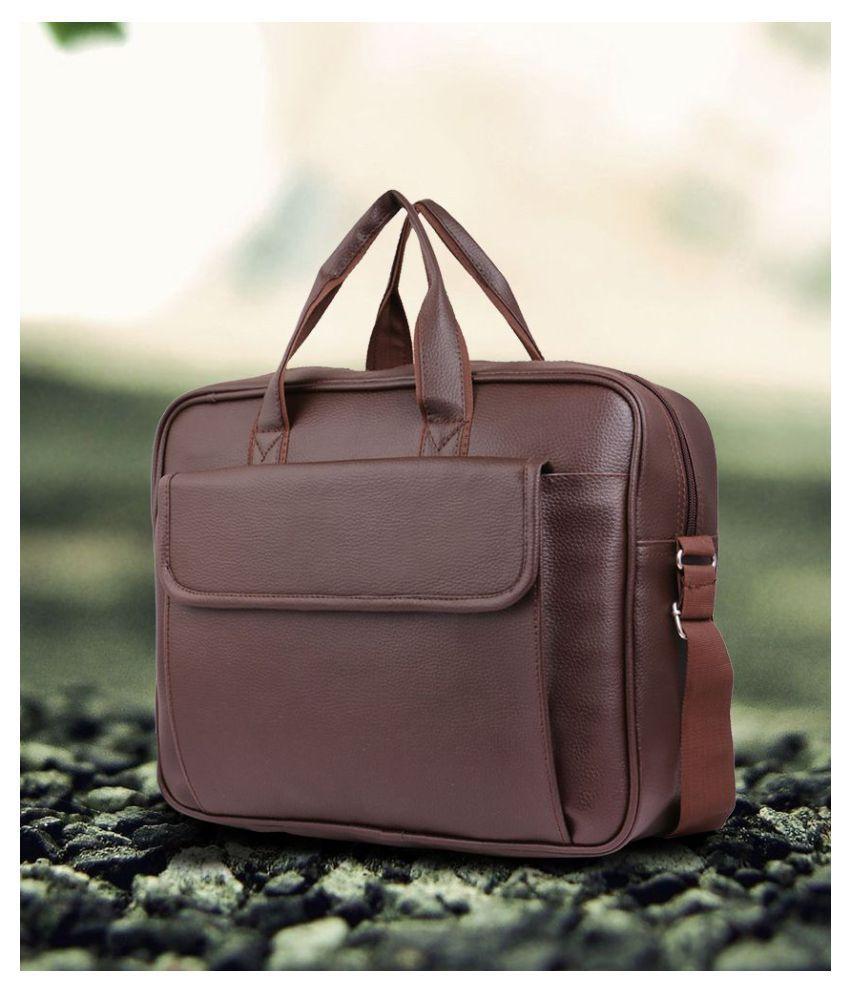 c74ef0894d93 Trouper Brown P.U. Leather Laptop Bag   Office Bag Sling Bag For Men   Women  Side Bag- 15 Inch - Buy Trouper Brown P.U. Leather Laptop Bag   Office Bag  ...