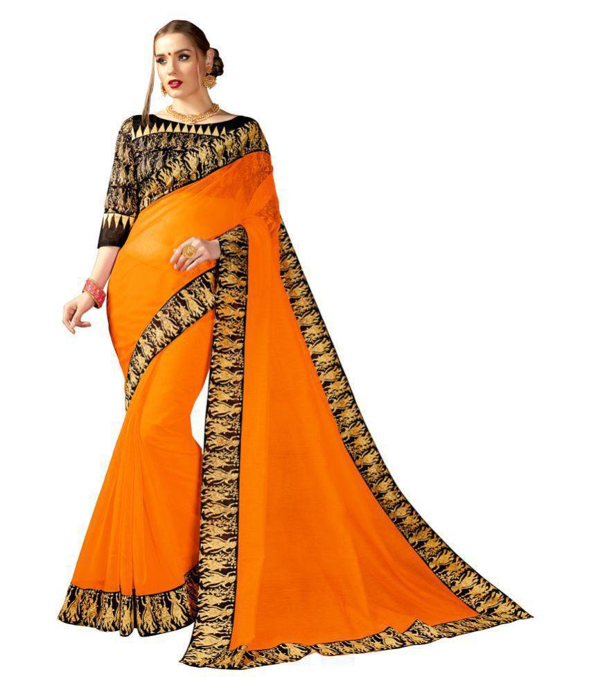 Brandvilla fashion Brown and Orange Cotton Saree