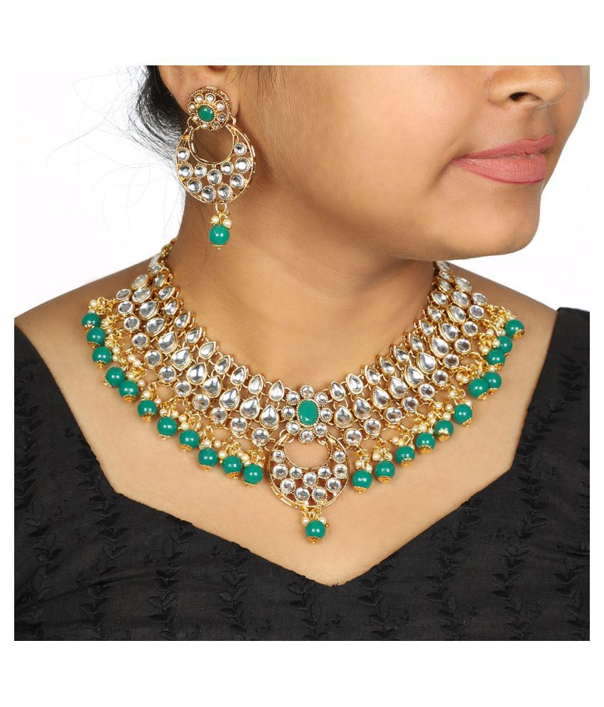 591721ad1079b Much More Alloy Green Choker Designer Gold Plated Necklaces Set