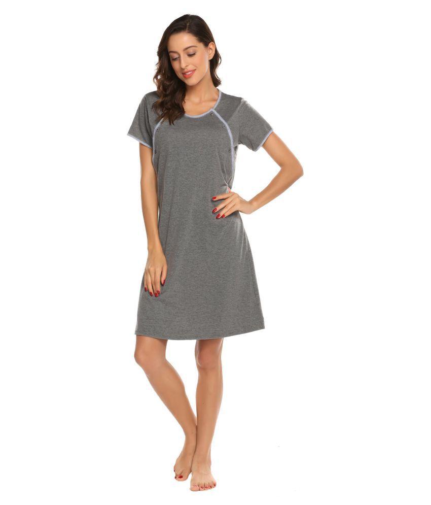 Women Maternity Dress Nursing Breastfeeding Gown Robe Nightgown Dress