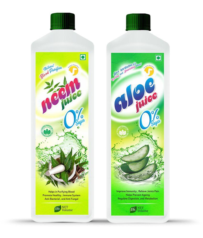 Rangelo Rajasthan Neem & Aloe Vera Juice- Health Drink 1000 ml Pack of 2