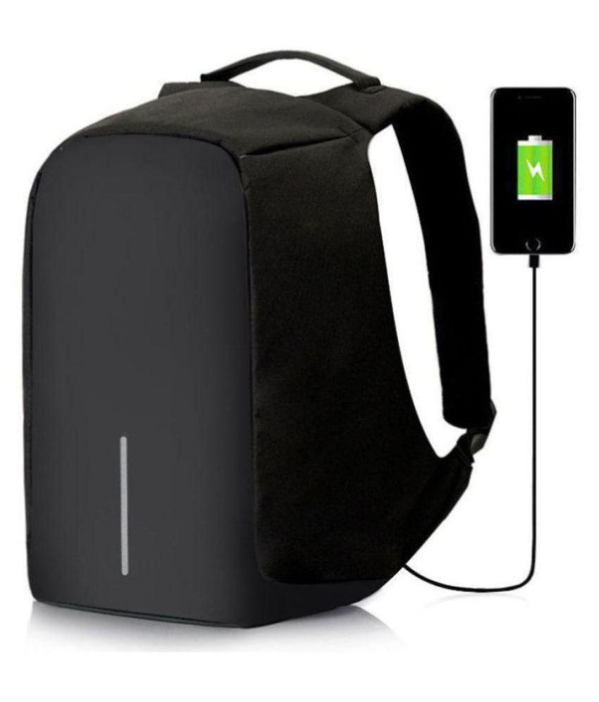 35c2fac22778 Trouper Black Canvas Polyester Anti Theft Laptop Bag Backpacks College Bags  With USB Charging Port- 25 Ltrs Gents Bag Carry Bag Men
