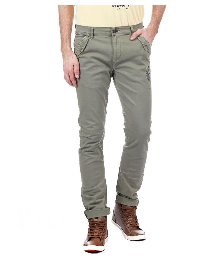 Ed Hardy Olive Green Slim -Fit Flat Trousers