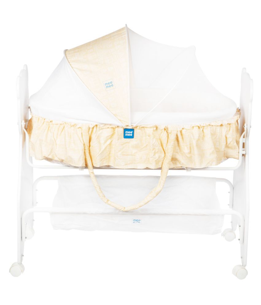 Mee Mee 2 in 1 Wooden Baby Cradle Bassinet (Yellow)