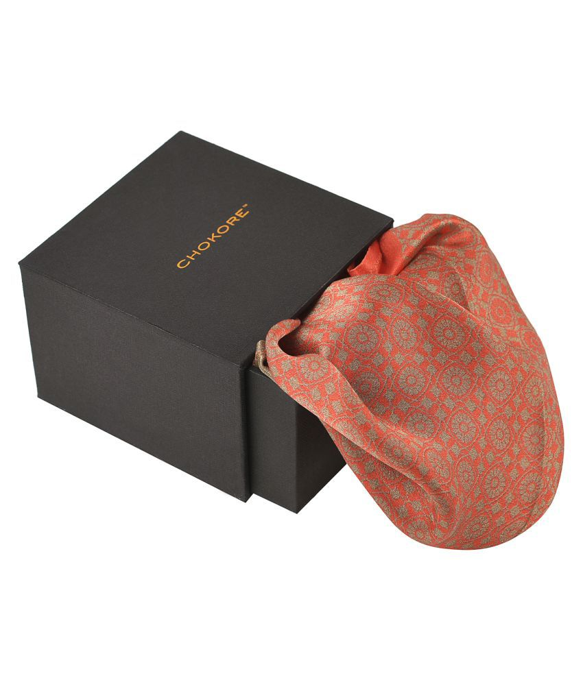 Chokore Red & Golden Silk Pocket Square - Indian At Heart line_(IH81404_65AE)