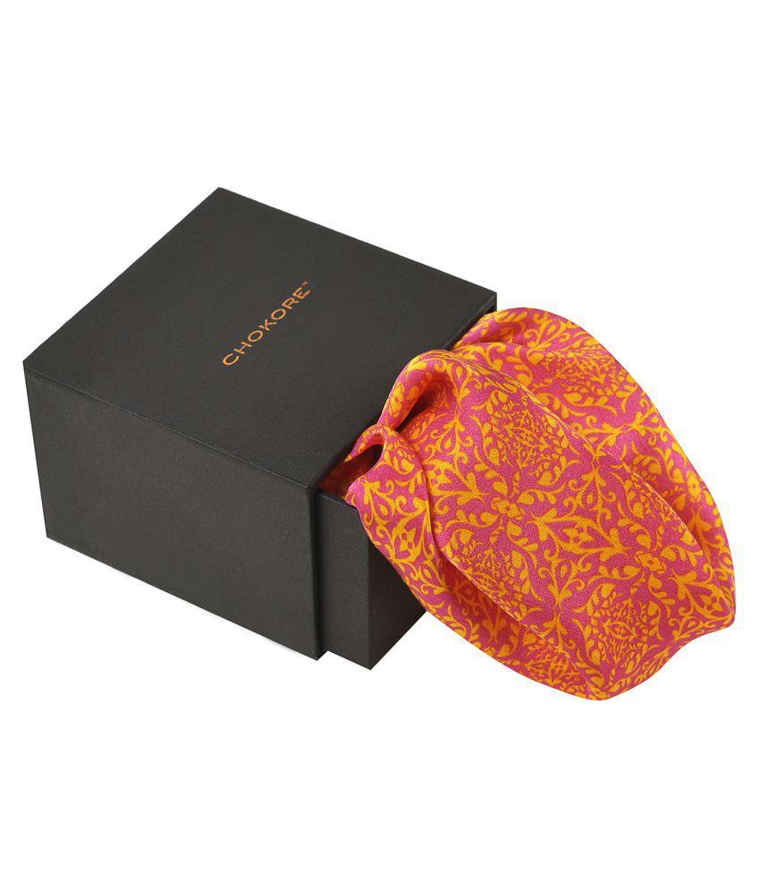 Chokore Rose Pink & Lemon Green Silk Pocket Square - Indian At Heart line_(IH81403_56Y)