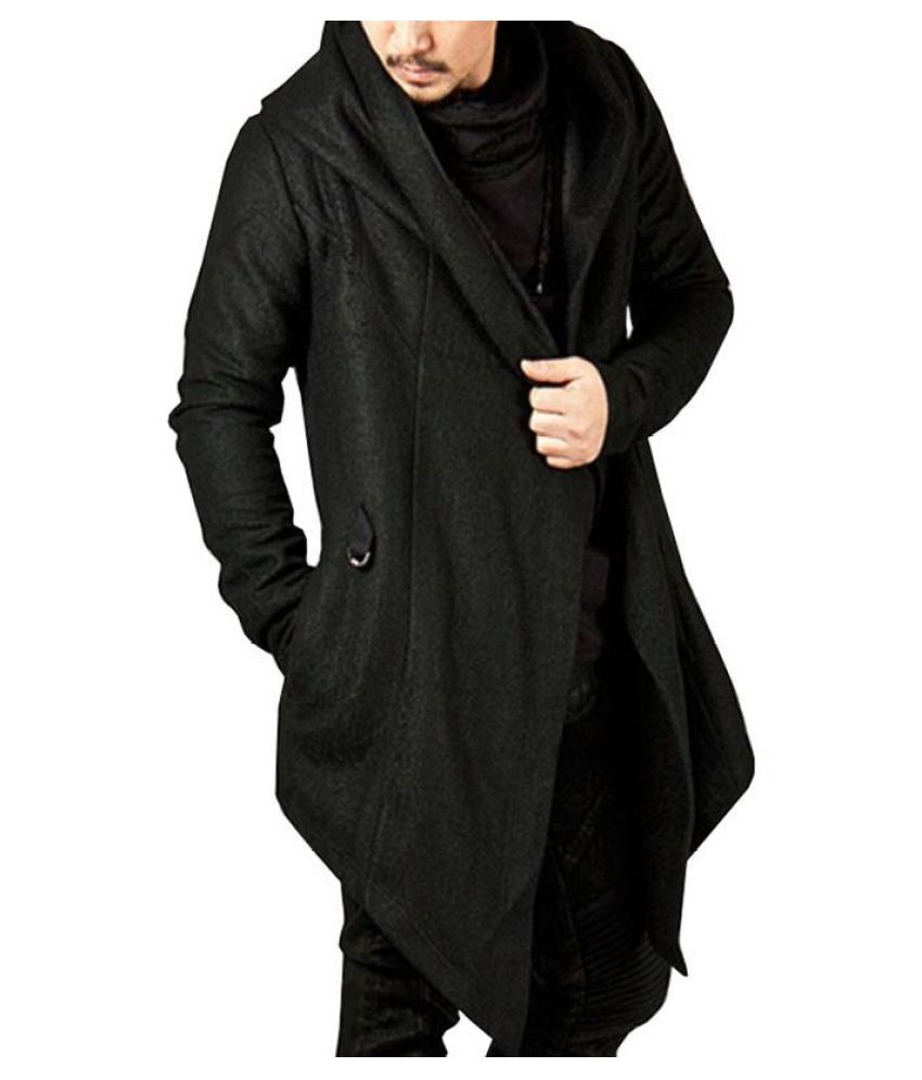 7f0fca3714c4 ... Mens Hooded Solid Color Loose Fit Coat Irregular Hem Long Sleeve Casual Trench  Coat ...