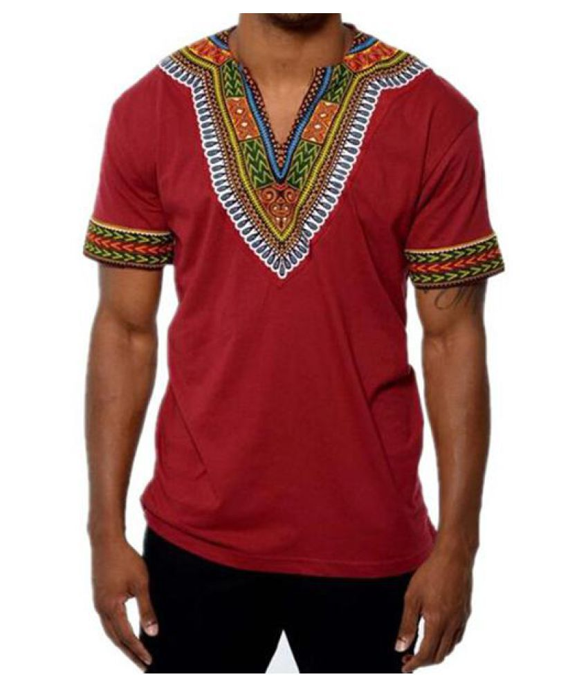 d1bcffc62 Mens African Ethnic Style 3D Printed V-neck Casual Summer T Shirts ...