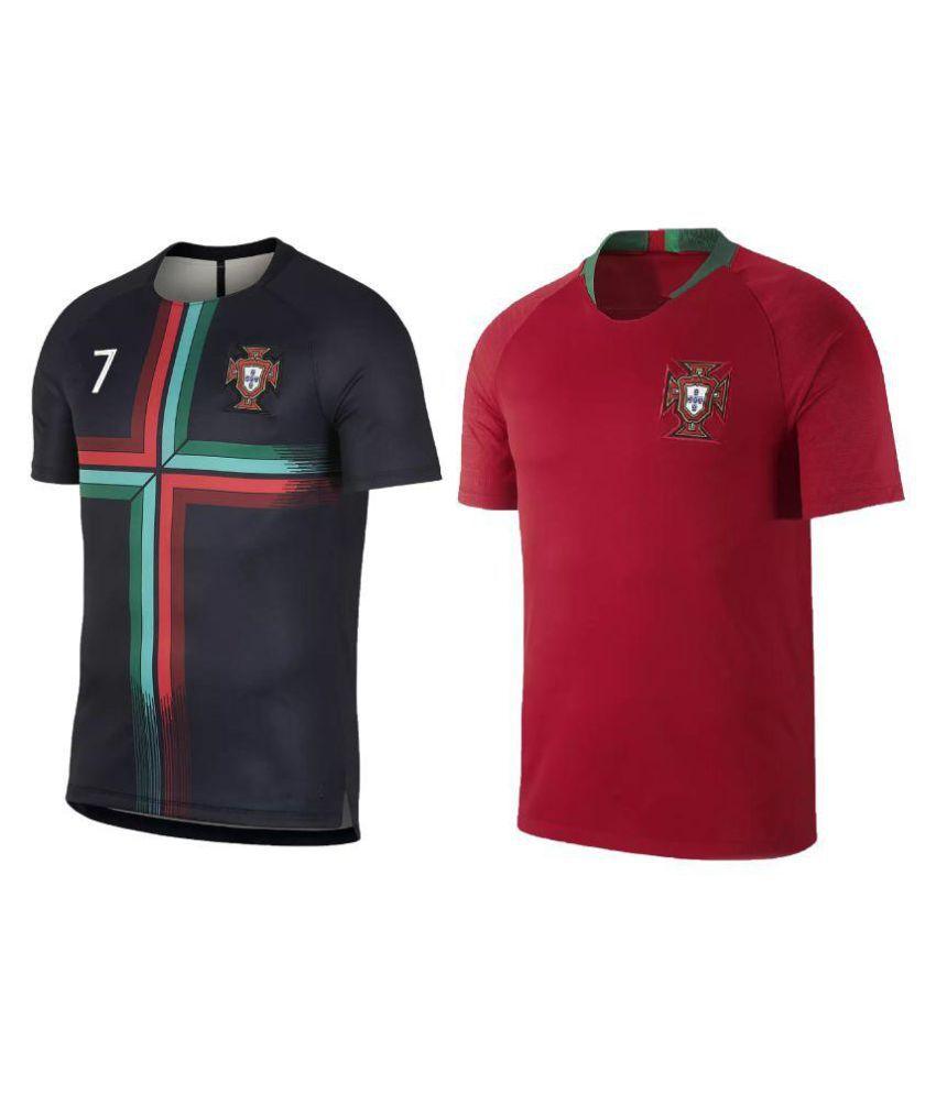 new product a6713 5437a uniq kids football ronaldo jersey portugal black & portugal red top