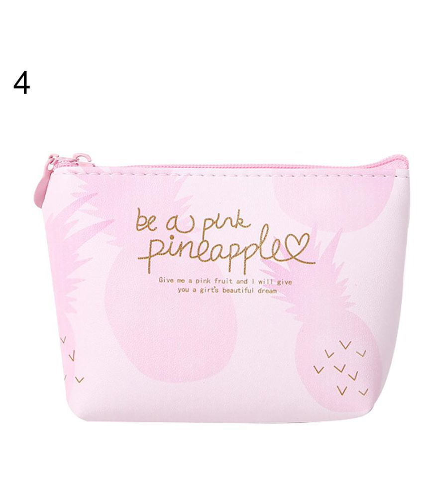 Lovely Pink Pineapple Faux Leather Women Coin Purse Mini Wallet Zipper Bag Gift