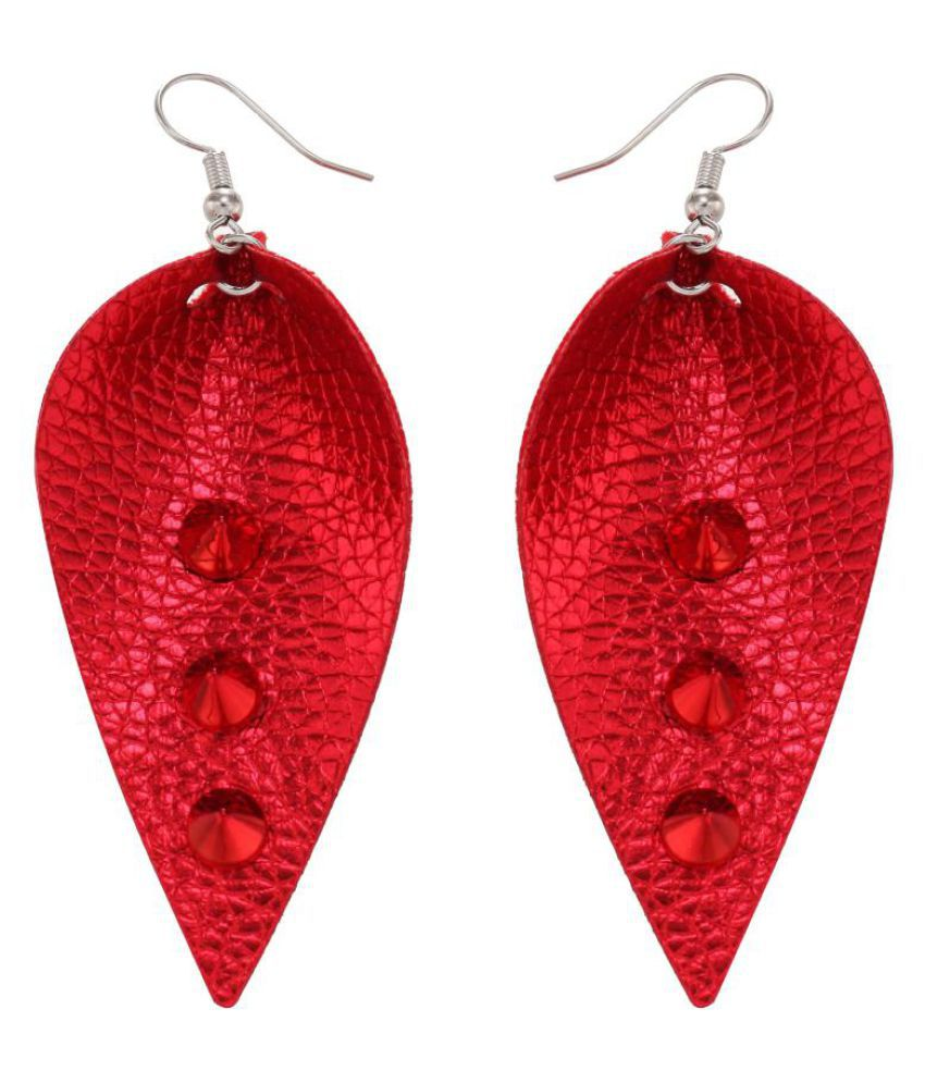 Women Leaf Drop Hook Earrings Fashion Rivet Inlaid Party Shopping Date Jewelry