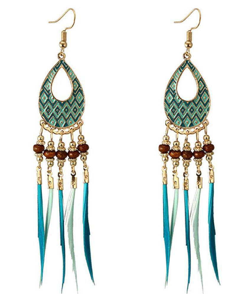 Women Vintage Boho Water Drop Tassel Long Dangle Hook Earrings Jewelry Gift