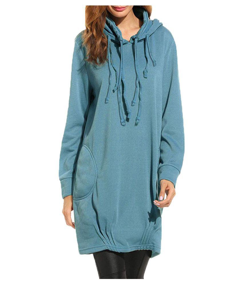 Kidsform Women Hoodie Dress Long Sleeve Solid Pullover Loose Long Sweatshirt With Pocket