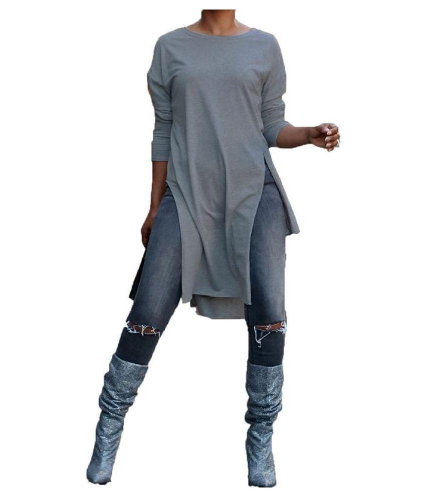 Top Fashion 2018 Spring ZANZEA Women Leisure Scoop Neck Long Sleeve Blouse Fashion Solid Party Club Asymmetrical Splits Shirts
