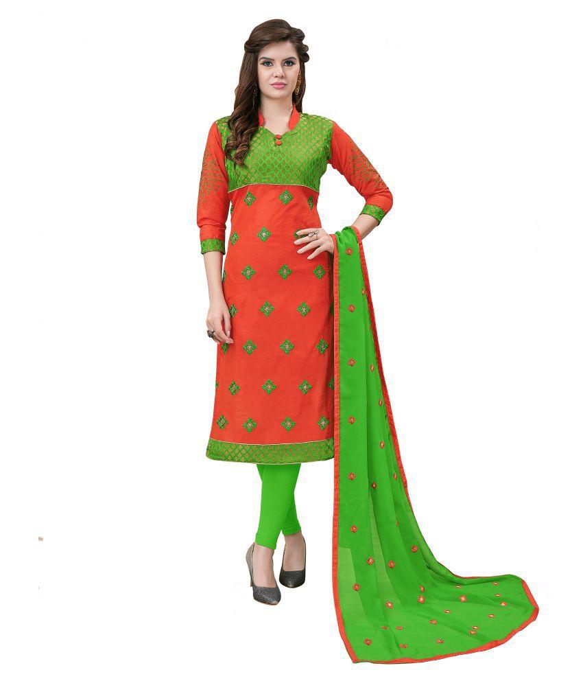 Maroosh Multicoloured Cotton Blend Anarkali Semi-Stitched Suit