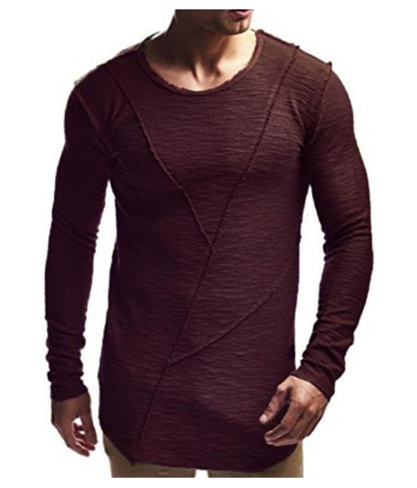 Men Casual Long Sleeve Crew Neck Fashion Irregular Hem Top Plain Tee Shirts