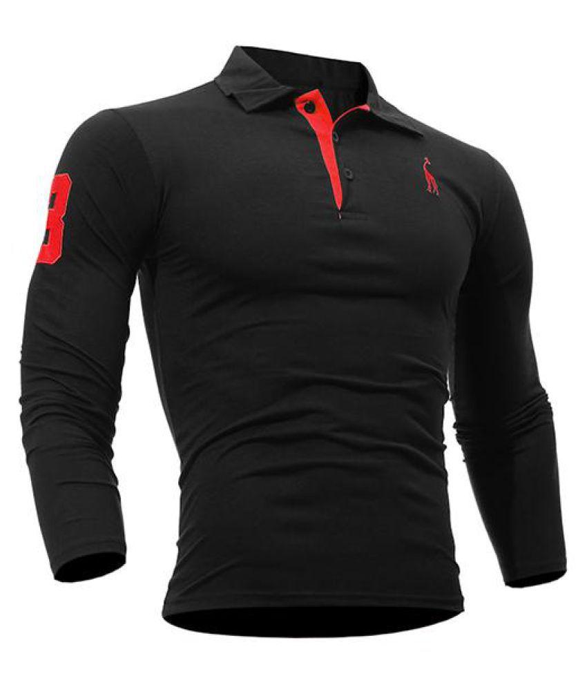 Mens Fashion Deer Embroidery Golf Shirt Turndown Collar Long Sleeve Spring Fall Casual T-shirt