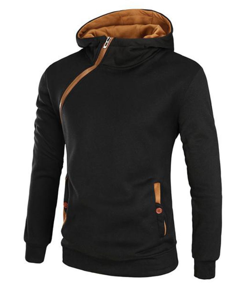 Mens Hoodies Solid Color Side Zipper Thick Casual Sport Hooded Tops