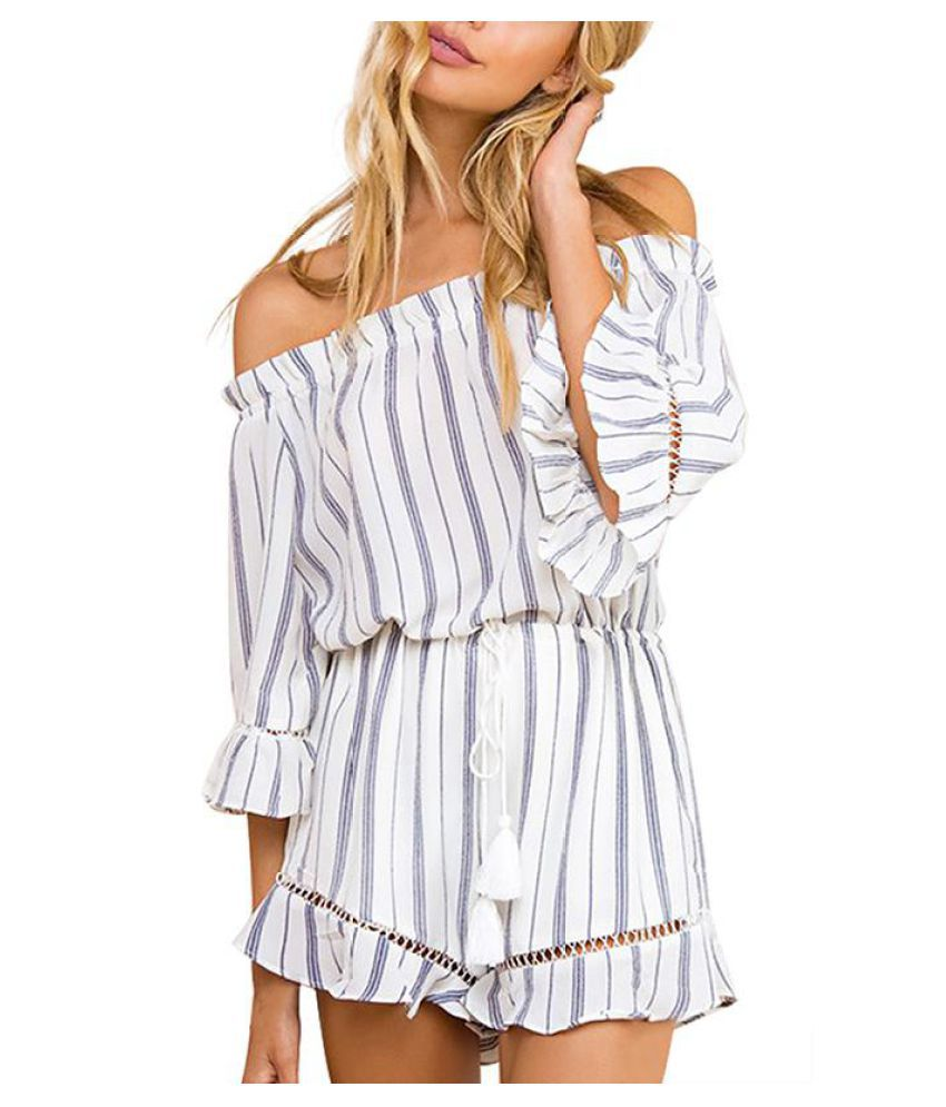 YOINS New 2016 Sexy Women Slash Neck Striped Off The Shoulder Romper Fashion Drawstring Waist Playsuit with Flouncy Details