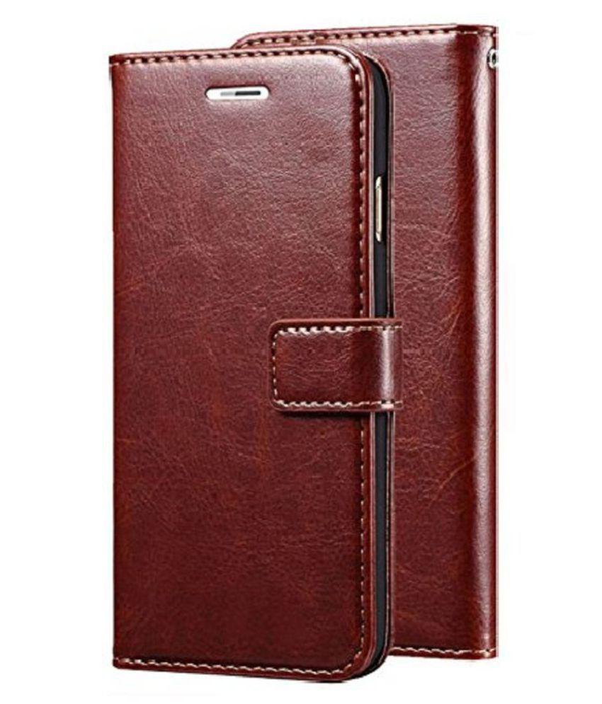 Xiaomi Redmi Poco F1 Flip Cover by Kosher Traders - Brown Vinatge Leather Case Cover