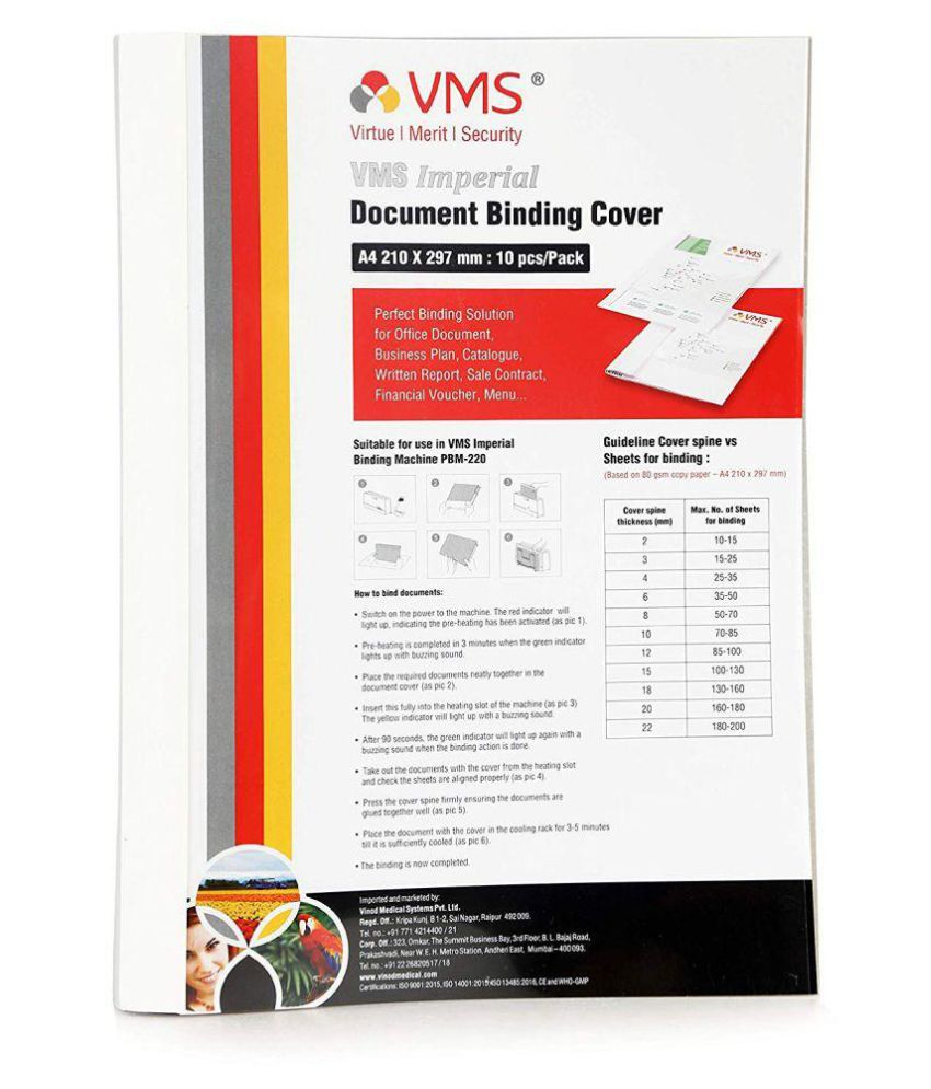 VMS Imperial A4 Thermal Binding Document Cover White Paper and Transparent Plastic Cover with PVC Glue for Thermal Binding Machine (22 mm Pack of 10 Pcs)
