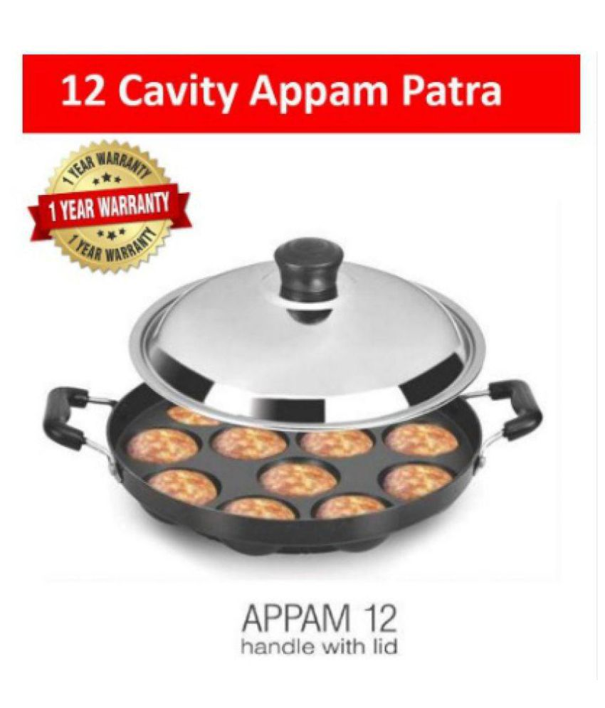 WALTER Aluminum Non-Stick 12 Cavity Appam Cookware Patra Side Handle with Lid Fry Pan 23 cm ml