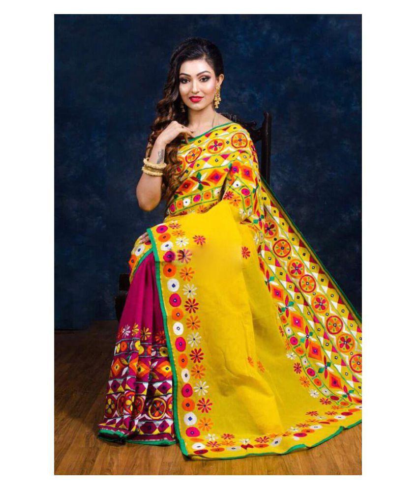 Handloom Collection Yellow Bengal Handloom Saree