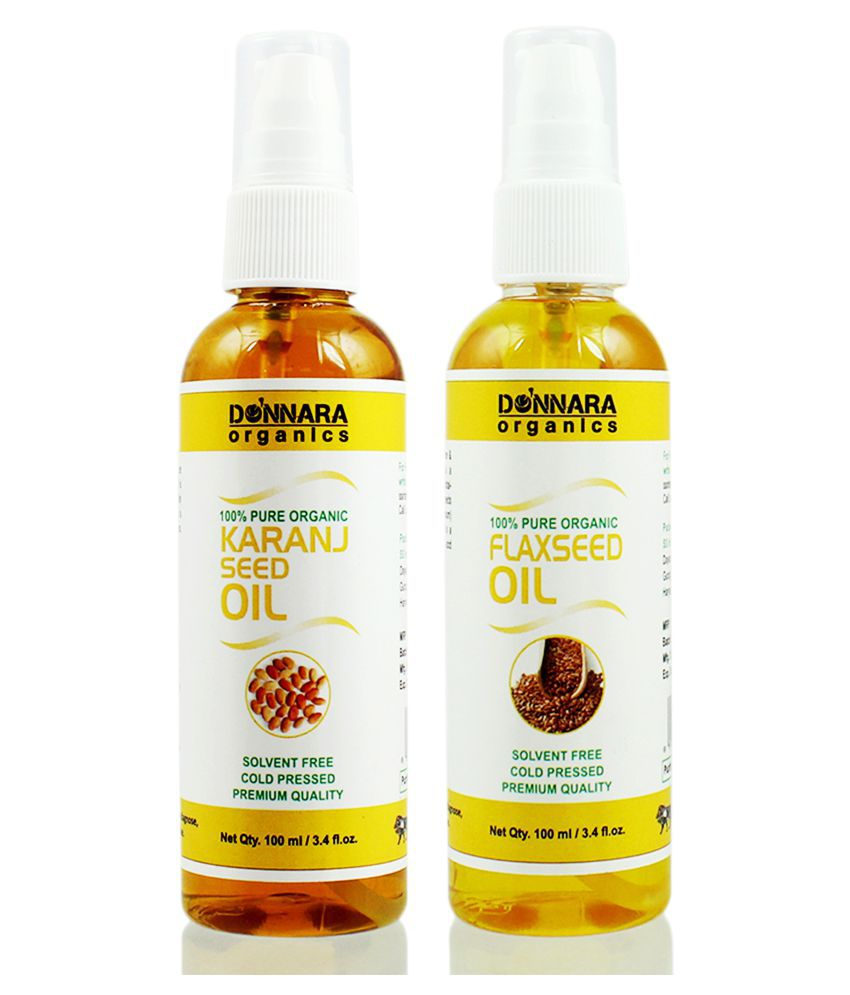 Donnara Organics 100% Pure Karanj oil & Flaxseed oil 200 ml Pack of 2